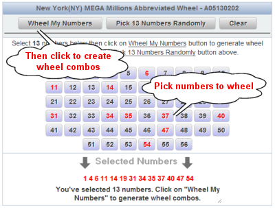 Massachusetts Megabucks Doubler Lotto Wheels Number Selection Sample