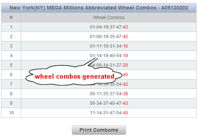 Massachusetts Megabucks Doubler Lotto Wheels Sample Results